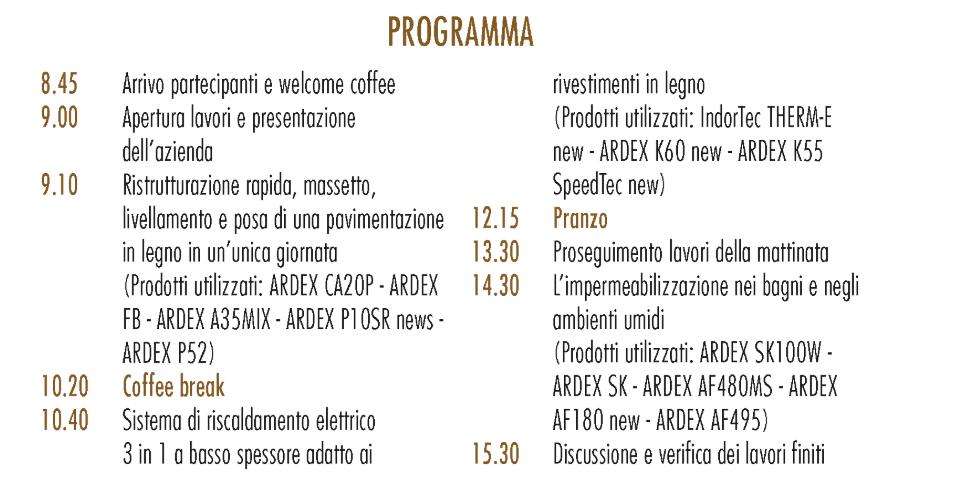 Programma Porte Aperte Ardex 6 dicembre 2019