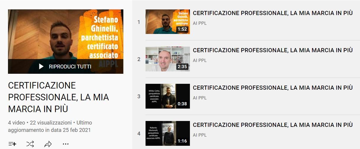 Screenshot Youtube sulla certificazione professionale aggiornata a febbraio 2021